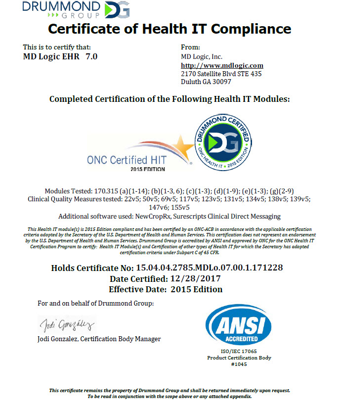 Its Official Md Logic Earns Onc 2015 Certification On 12282017